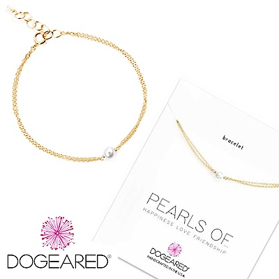 Dogeared 白色珍珠手鍊 迷你款 鑲 14 K金 雙層鍊設計 可調式 附原廠盒