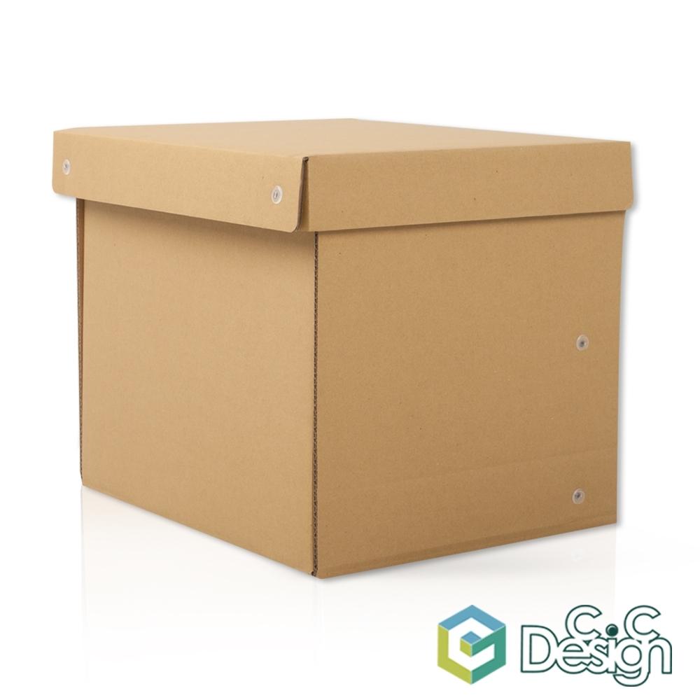 【C.C Design】台灣製 專利畚斗型 瓦楞紙收納箱 原色款 3入
