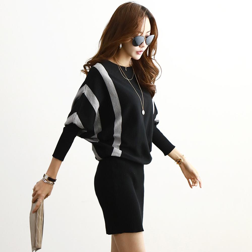 正韓 撞色線條飛鼠袖針織連衣裙 (黑色)-N.C21