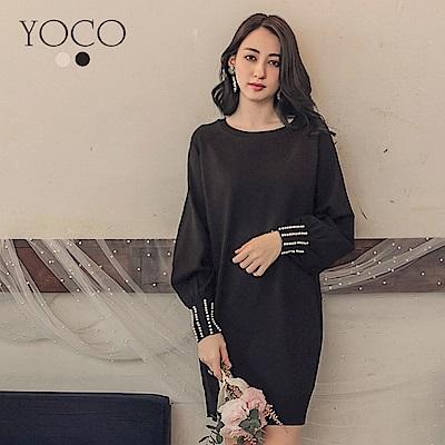 東京著衣-yoco 韓妞LOOK珍珠袖口長版針織洋裝-S.M.L(共二色)