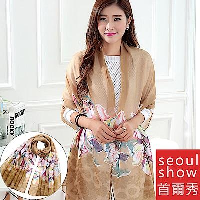Seoul Show 雙生百合花巴黎紗圍巾2色-土黃
