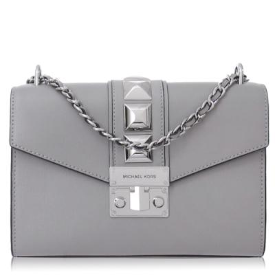Michael Kors 光滑皮革 造型鉚釘 / 小款 / 鍊條 兩用包(灰色)