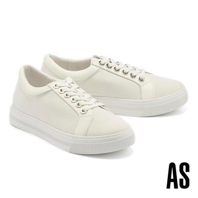 休閒鞋 AS 簡約率性異材質拼接羊皮綁帶厚底休閒鞋-白