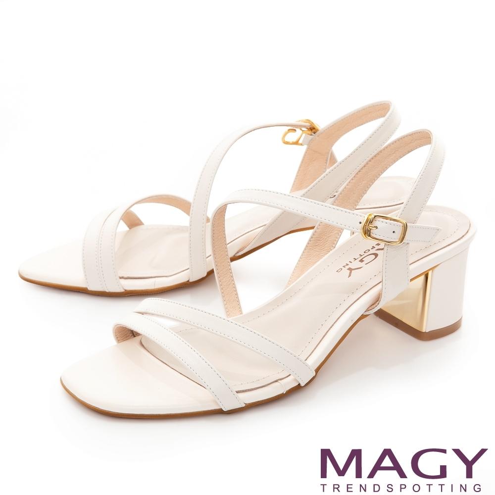 MAGY 細版真皮斜邊踝繞帶中跟 女 涼鞋 白色
