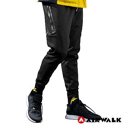 【AIRWALK】男款運動剪接長褲-黑