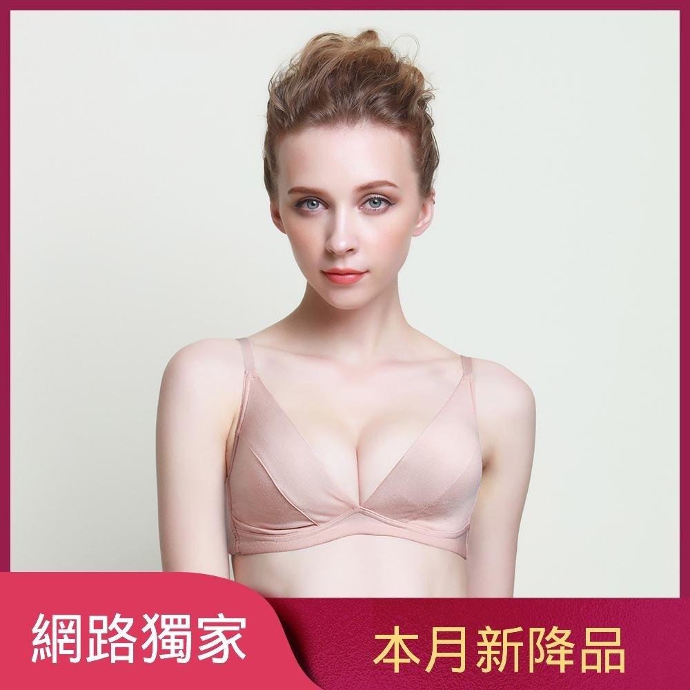 黛安芬-自在嚴選系列薄襯三角無鋼圈 B-D罩杯內衣 粉透膚