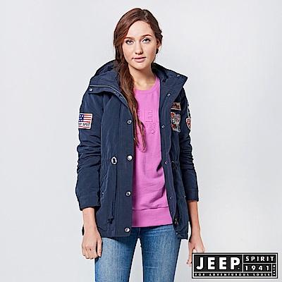 JEEP 女裝 率性百搭俐落軍裝外套 -深藍色