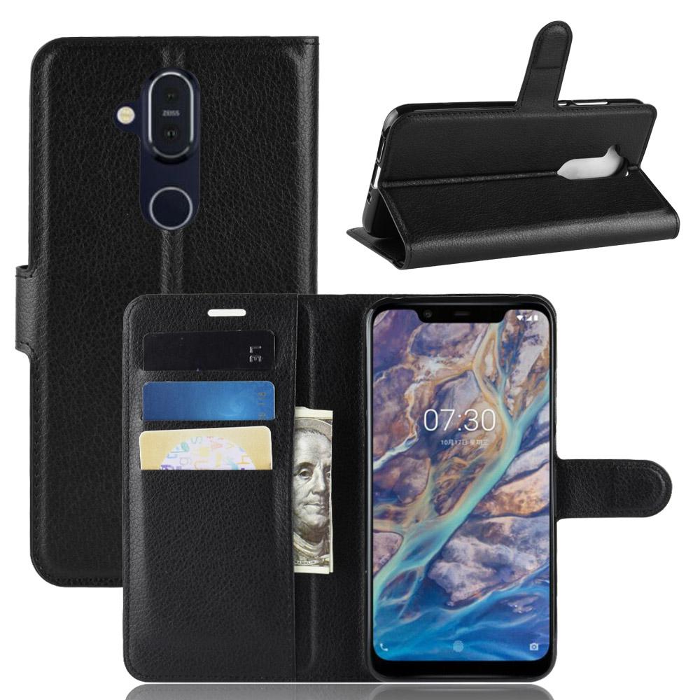 PKG Nokia 8.1 皮套 側翻式-精選皮套-經典款式-黑