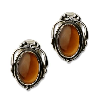 Georg Jensen 喬治傑生 2017年度煙水晶純銀夾式耳環