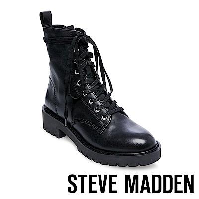 STEVE MADDEN-GRID經典戰鬥綁帶短筒靴-黑色