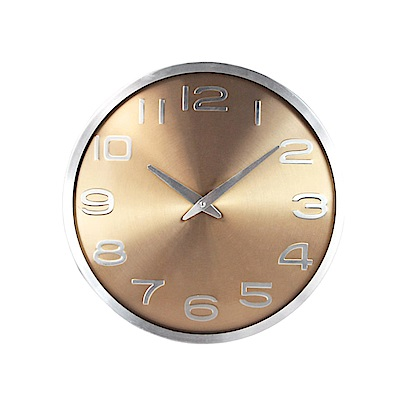 KINYO 12吋古銅金屬質感靜音掛鐘/時鐘(CL-165)鋁合金邊框