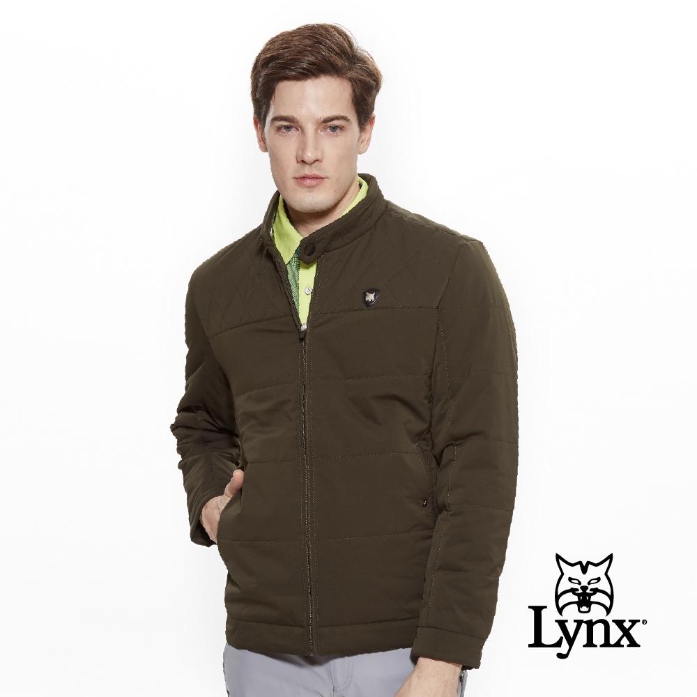 【Lynx Golf】男款防潑水防風保暖菱格紋剪接長袖外套-綠色