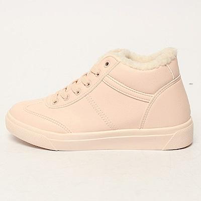 【AIRKOREA韓國空運】保暖內鋪毛半高筒運動休閒隱形增高鞋-粉