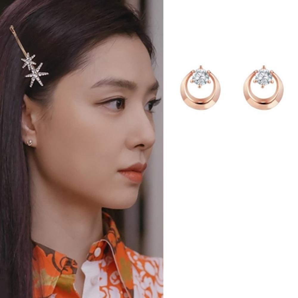 梨花HaNA 韓國925銀愛的迫降第4集徐丹小鑽圈玫瑰耳環