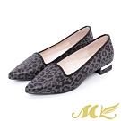 MK-YAHOO獨家款-野性豹紋牛仔布尖頭中低跟鞋-黑色 (兩色)