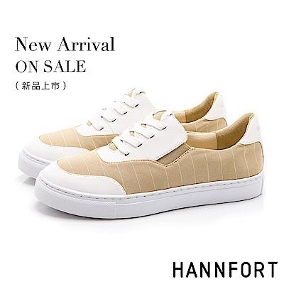 HANNFORT CAMPUS 條紋帆布休閒鞋-女-米白