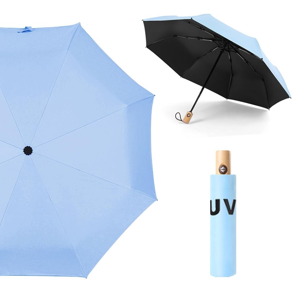 幸福揚邑 降溫抗UV防風防撥水大傘面全自動開收木柄晴雨摺疊傘(淺藍)