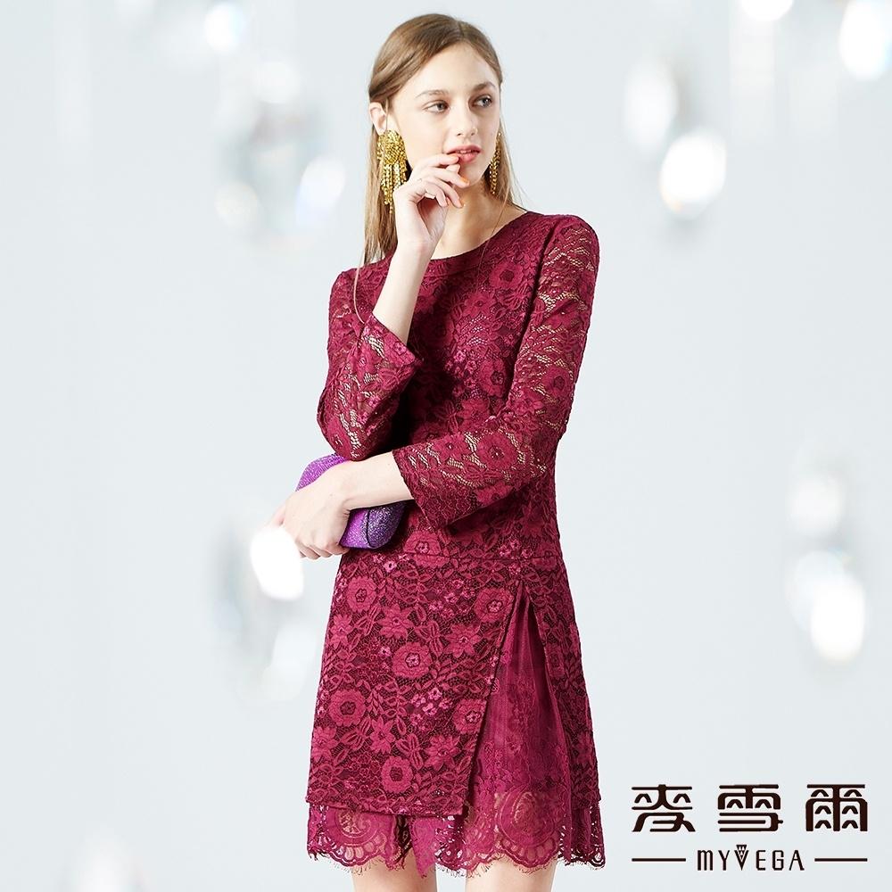 【麥雪爾】下襬打褶七分袖蕾絲短洋裝