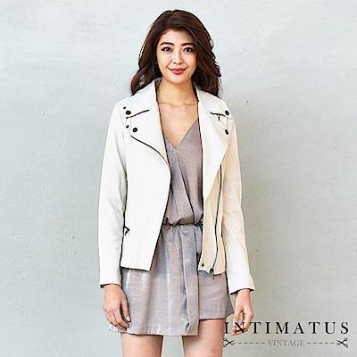 INTIMATUS 真皮 高雅騎士風頂級小羊皮皮衣 氣質米白