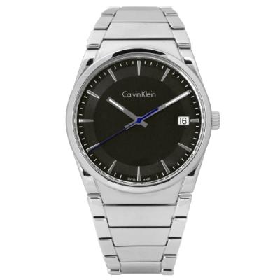 CK  step 俐落極簡知性日期不鏽鋼手錶-黑色/38mm
