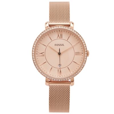 FOSSIL 鑽鑲優雅風米蘭帶錶帶手錶(ES4628)-香檳色面X玫瑰金/36mm