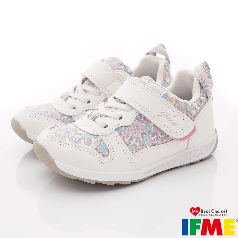 IFME健康機能鞋 小碎花輕量鞋款 ZE12602白(中小童段)