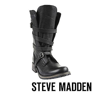 STEVE MADDEN-BANDDIT冒險粗獷真皮環繞式肩帶扣飾高筒靴-黑色