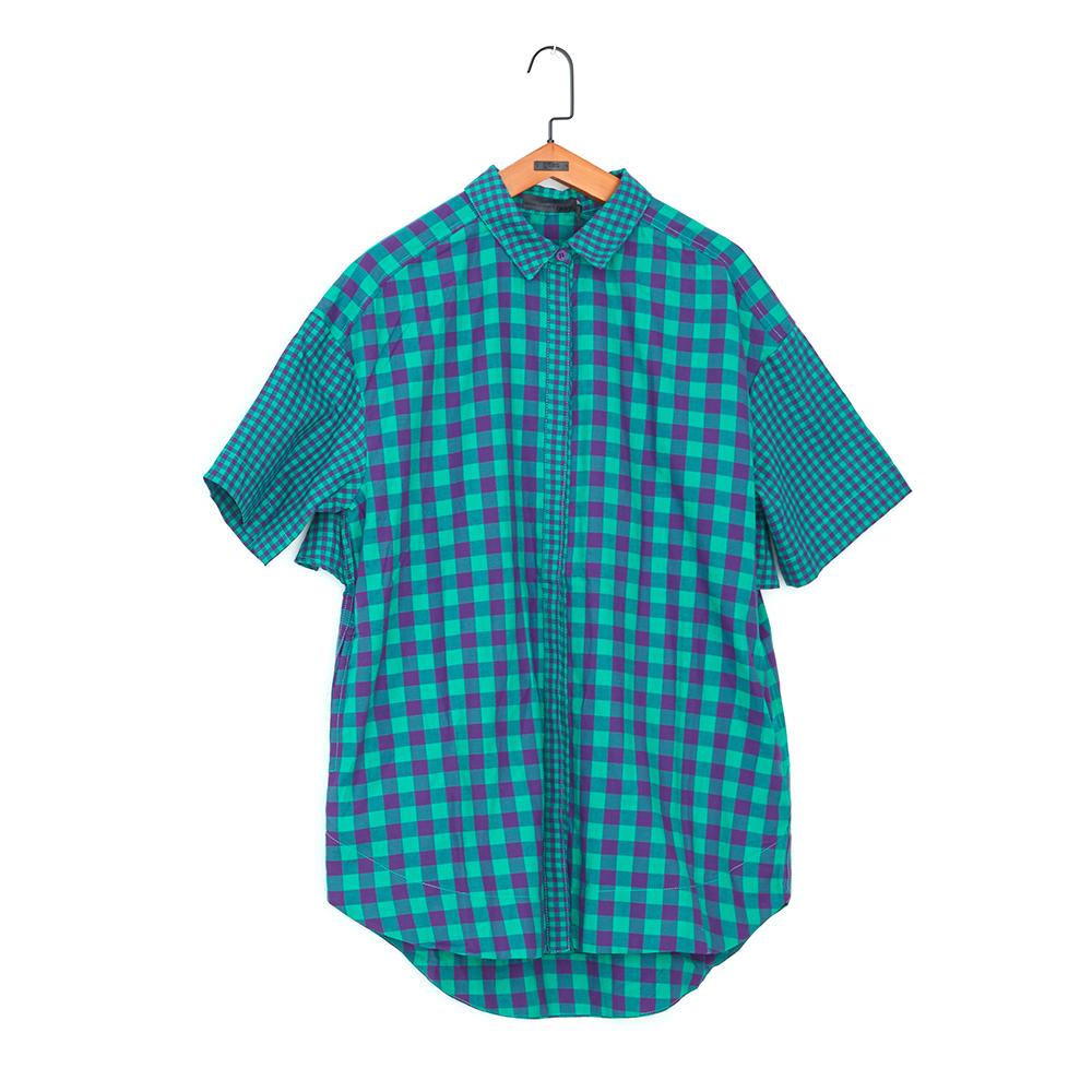 gozo 格紋拼接波浪造型襯衫(二色)