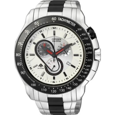 CITIZEN Eco-Drive 極速三環光動能腕錶-黑框/白(AT0710-50A)/35mm
