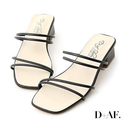 D+AF 清新優雅.二穿法細帶方頭低跟涼鞋*黑