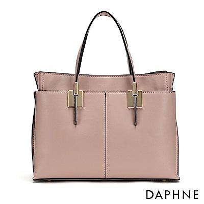 達芙妮DAPHNE-拼接多層袋手提方包-淺粉