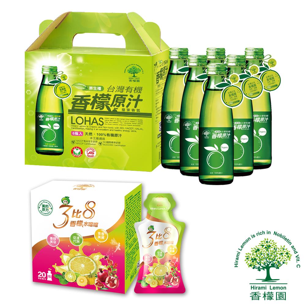 【香檬園】台灣原生種有機香檬原汁6入+香檬3比8水噹噹x1盒 @ Y!購物