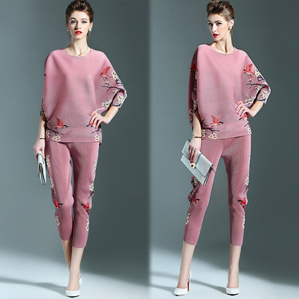 【KEITH-WILL】(預購) 優美復古印花兩件式壓褶套裝-3色