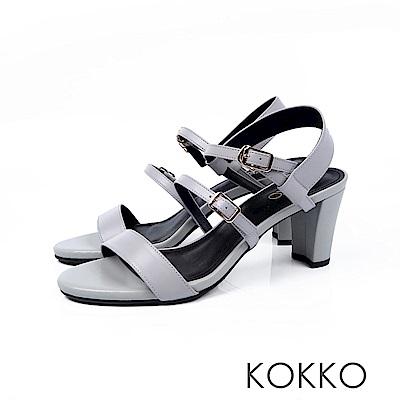 KOKKO - 極度簡約一字細帶粗跟真皮涼鞋 - 朦朧灰