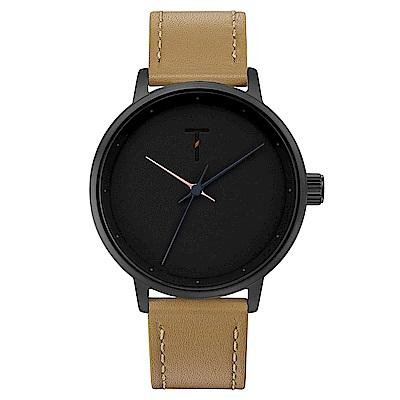 TYLOR Dank簡約質感皮革手錶-黑X卡其/40mm
