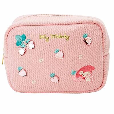 Sanrio 美樂蒂刺繡及水鑽鑲飾大開口方型化妝包(草莓)