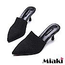 Miaki-高跟鞋韓風時尚中跟穆勒鞋-黑