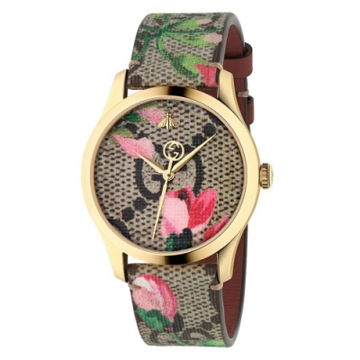 GUCCI G-TIMELESS精緻花卉時尚腕錶38mm(YA1264038)
