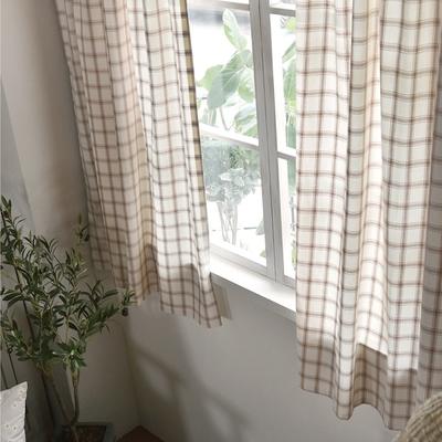完美主義 清新大格子半腰式窗簾-2入組/簾子/韓國製-100x150cm
