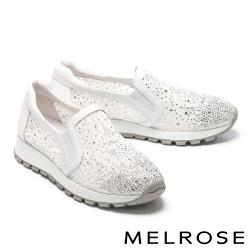 休閒鞋 MELROSE 奢華閃耀蕾絲水鑽造型厚底休閒鞋-白