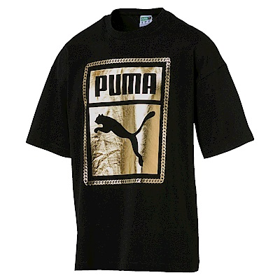 PUMA-男性流行系列鎖鏈短袖T恤-黑色-亞規