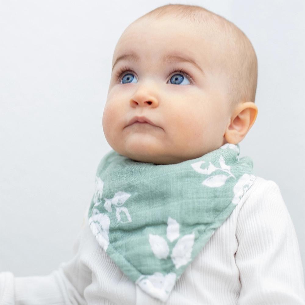 美國 Bebe Au Lait 經典棉紗布圍巾兜2入組 (古典與現代花卉)