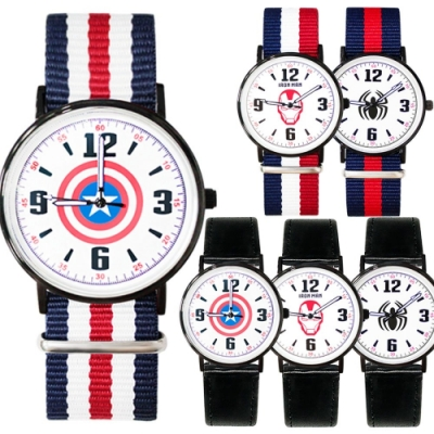 Marvel漫威酷黑超薄手錶40mm共6款任選(皮帶/織帶)
