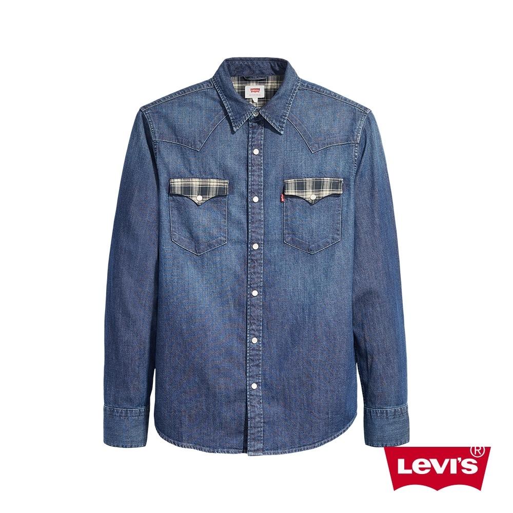 Levis 男款 牛仔襯衫 Oversize寬鬆版型 格紋拼接口袋