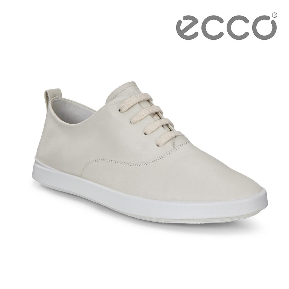 ECCO LEISURE 超柔軟牛皮透氣休閒鞋 女-白
