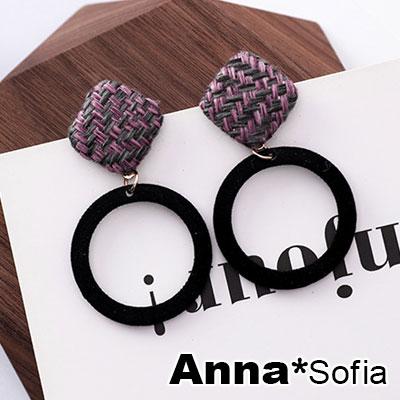 AnnaSofia 復古交錯呢菱釘空圈 大型耳針耳環(黑圈系)