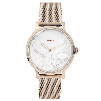 FOSSIL 美國精品手錶 NEELY大理石紋錶盤x玫瑰金米蘭錶帶34mm