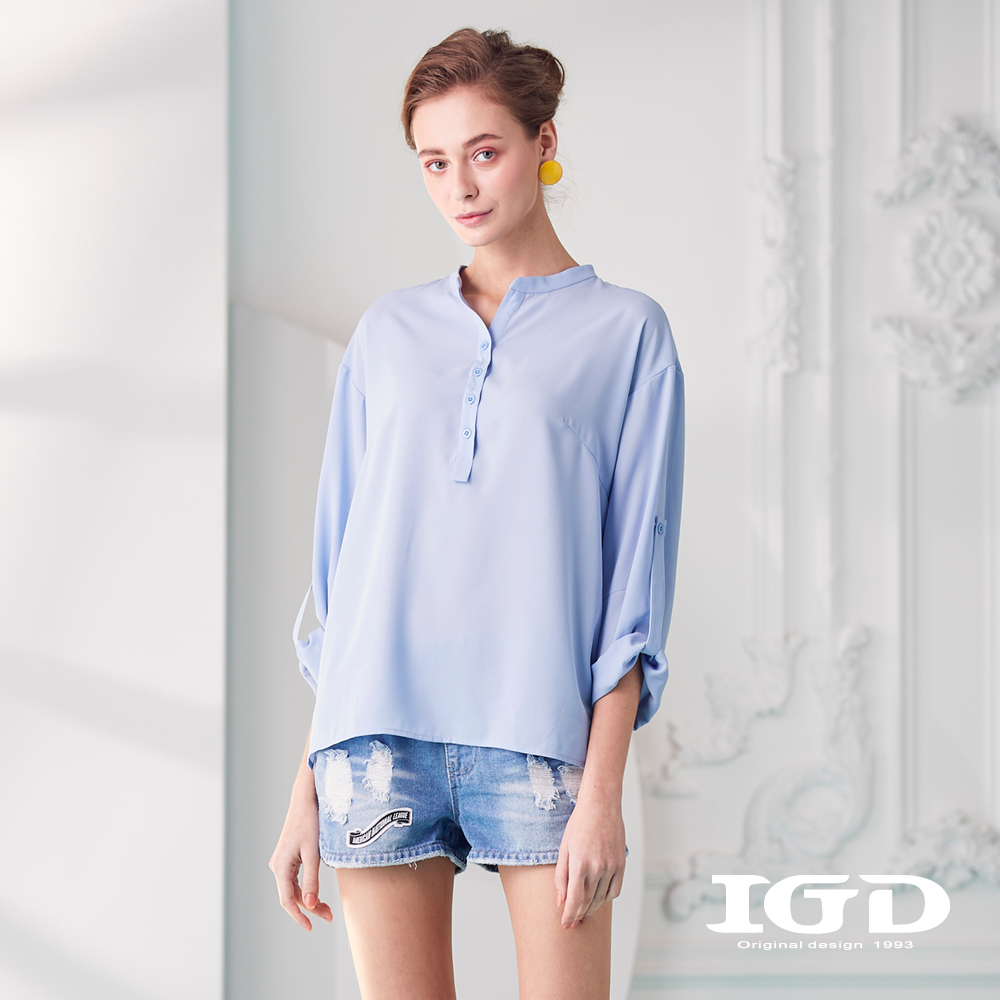 IGD英格麗 圓領開襟亨利衫上衣-淺藍