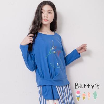 betty's貝蒂思 be happy微笑印花微透膚T-shirt(藍色)
