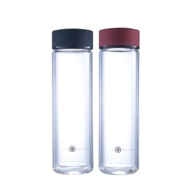 (買一送一)FUSHIMA富島 禪風雙層厚底隔熱玻璃隨手瓶430ML